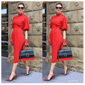 Zara Red Button Neck Tie Waist Midi Dress Modern